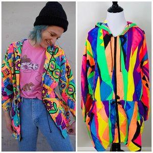 Vintage 80s Neon Multi Color Windbreaker Jacket L